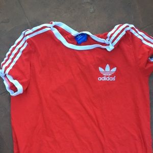 Cropped red adidas top